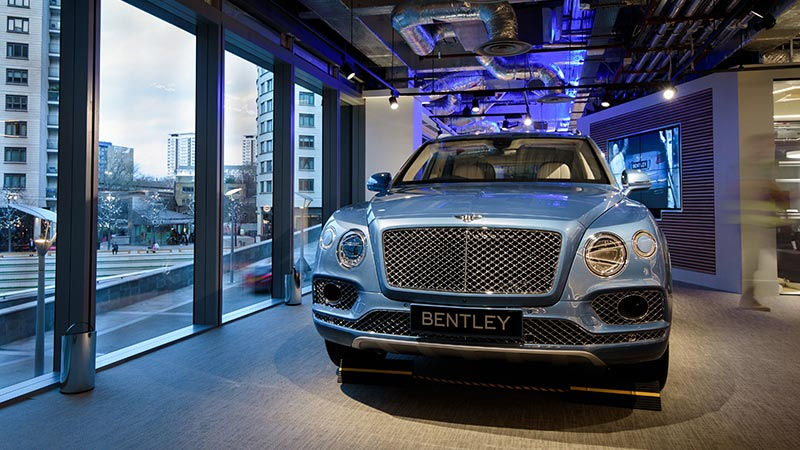 A Bentley on display at the Innovation Center in London showcasing a prototype app for the Internet of Things.